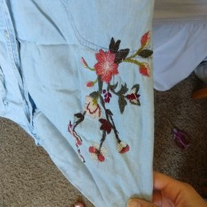 a.n.a Dresses - Blue short long sleeve dress with flowers